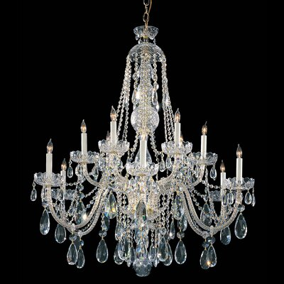 12-Light Crystal Chandelier Crystal Grade: Swarovski, Finish: Polished Brass