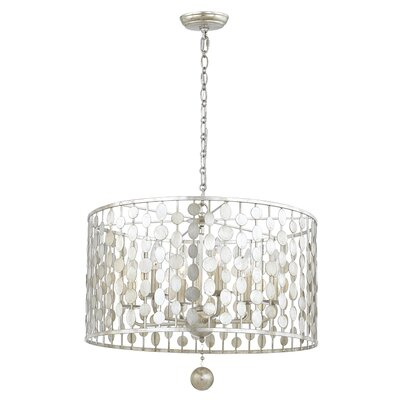 Charlesworth 6-Light Drum Metal Chandelier Finish: Antique Silver