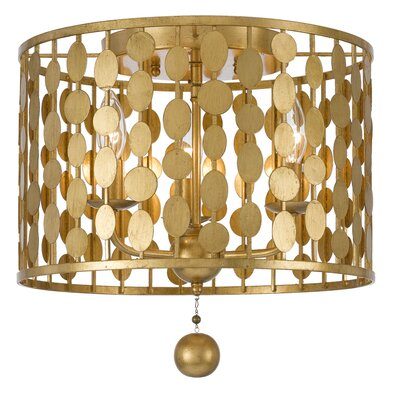Quentin 3-Light Flush Mount Finish: Antique Gold