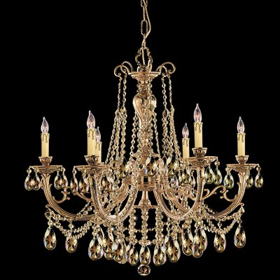 Olde World 6-Light Crystal Chandelier Crystal: Golden Teak Majestic Wood Polished