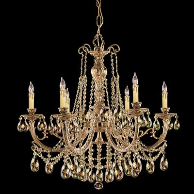 Olde World 6-Light Crystal Chandelier Crystal: Golden Teak Strass