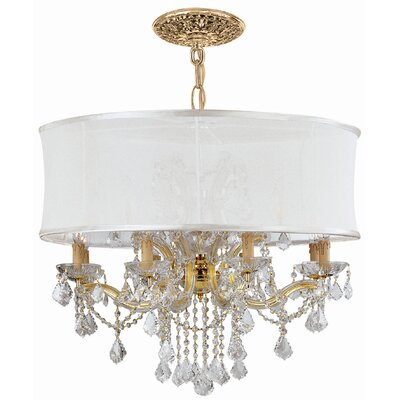 Corrinne 12-Light Drum Chandelier Crystal Type / Shade: Clear Hand Polished / Smooth Bright White