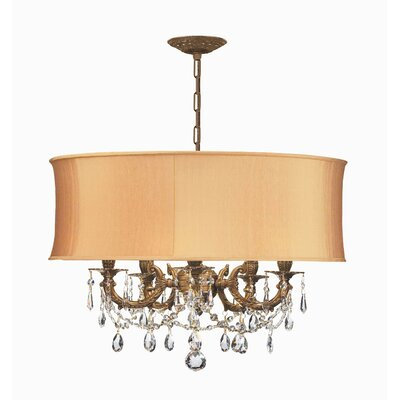 Brentwood 5-Light Drum Chandelier Finish: Aged Brass, Shade: Antique White, Crystal Type: Swarovski Elements