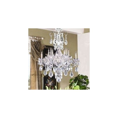 Bohemian 10 Light Candle Chandelier Crystal Type: Majestic Wood Polished, Finish: Polished Brass