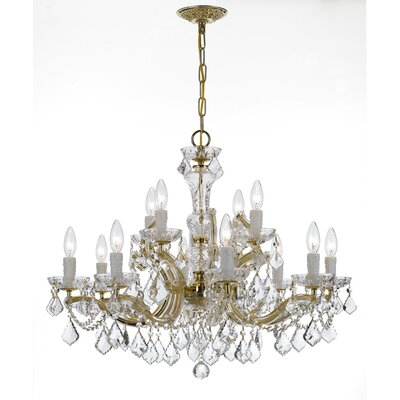 Griffiths 12-Light Crystal Chandelier Finish: Gold