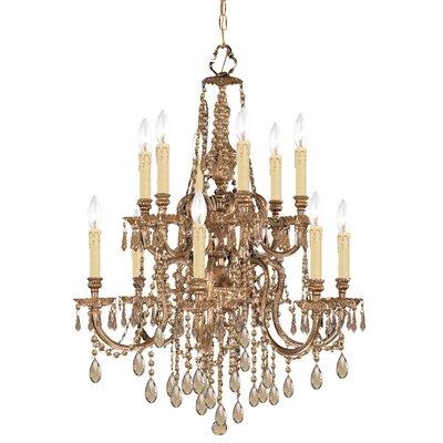 Olde World 12-Light Crystal Chandelier Crystal Type: Golden Teak Strass