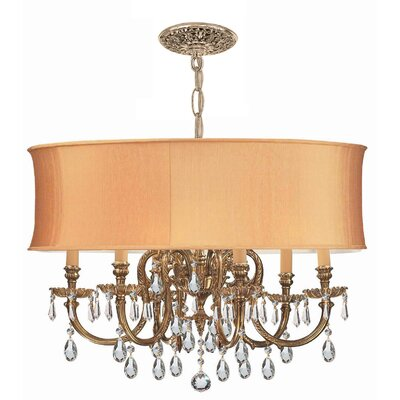 Corrinne Modern 6-Light Metal Drum Chandelier Crystal: Clear
