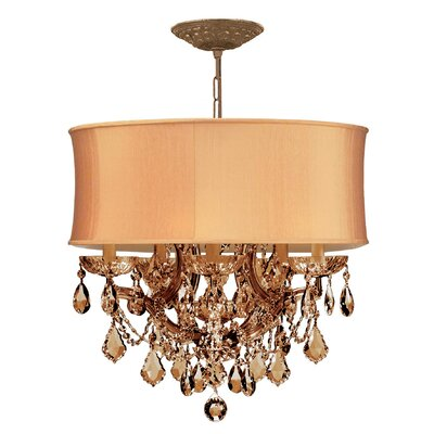 Brentwood 5-Light Drum Chandelier Crystal: Golden Teak Swarovsi Strass