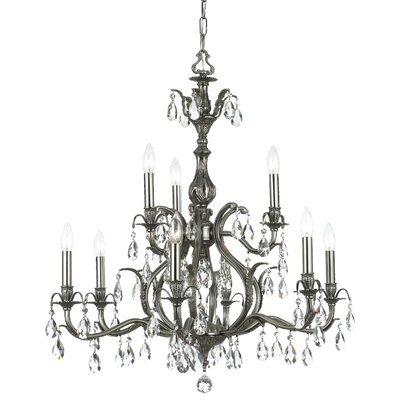 Dawson 9-Light Crystal Chandelier Crystal Type: Hand Polished, Finish: Pewter