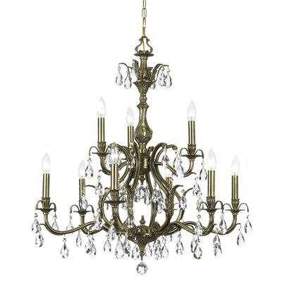 Dawson 9-Light Crystal Chandelier Crystal Type: Swarovski Spectra, Finish: Antique Brass