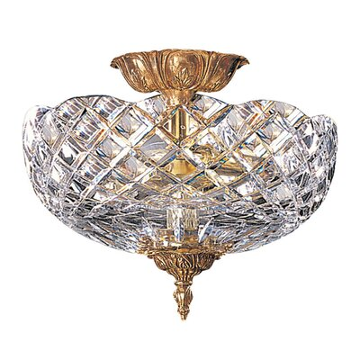 Olde World Lead Crystal 2-Light Semi Flush Mount Size: 12
