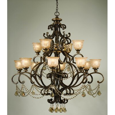 Tusten 12-Light Shaded Chandelier Crystal Type: Golden Teak Majestic Wood Polished