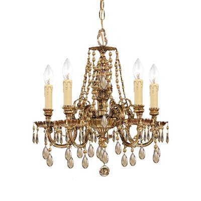 Olde World 5-Light Crystal Chandelier Crystal Type: Golden Teak Polished