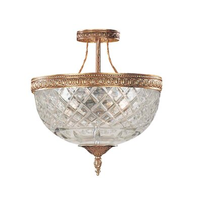 Aureolin 3-Light Semi-Flush Mount Finish: Olde Brass