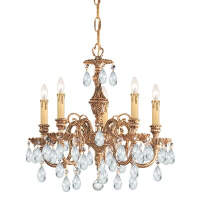 Olde World 5-Light Crystal Chandelier Crystal Type: Majestic Wood Polished