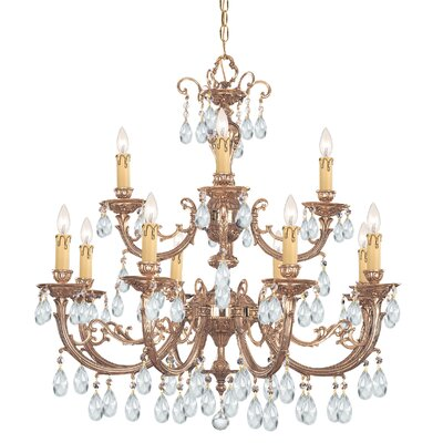Olde World 12 Light Chandelier Crystal: Swarovski Spectra