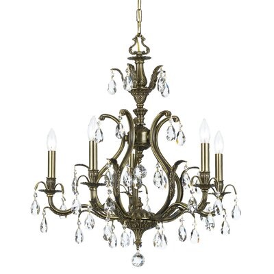 Dawson 5-Light Crystal Chandelier Crystal Type: Hand Polished, Finish: Antique Brass
