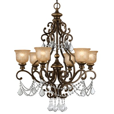 Tusten 6-Light Metal Shaded Chandelier Crystal Type: Hand Polished