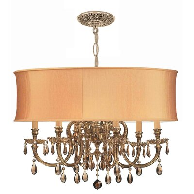 Brentwood 6-Light Drum Chandelier Crystal: Golden Teak