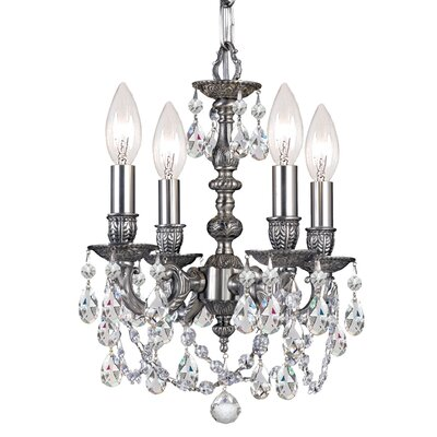 Mirabella 4-Light Candle-Style Chandelier Crystal: Rose Majestic Wood Polish
