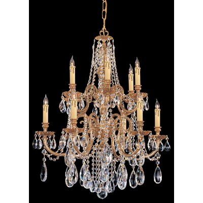 Olde World 12-Light Crystal Chandelier Crystal Type: Majestic Wood Polished