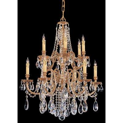 Olde World 12-Light Crystal Chandelier Crystal Type: Majestic Wood Polished
