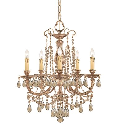Olde World 5-Light Crystal Chandelier Crystal: Golden Teak Majestic Wood Polished