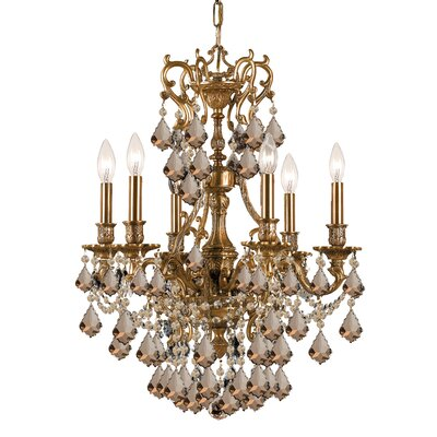 Yorkshire 6-Light Crystal Chandelier Crystal: Golden Teak Majestic Wood Polish