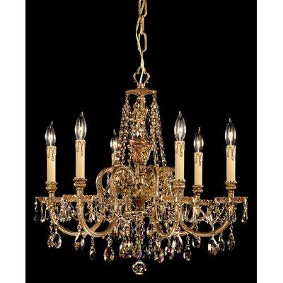 Olde World 6-Light Crystal Chandelier Crystal Type: Golden Teak Polished