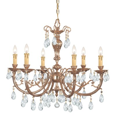 Olde World 6-Light Crystal Chandelier Crystal: Majestic Wood Polished