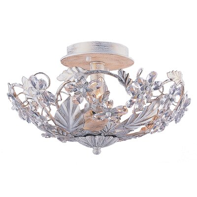 Abbie 3-Light Semi Flush Mount Finish: Antique White