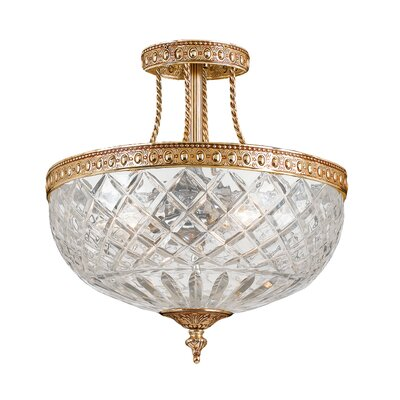 Olde World Lead Crystal 3-Light Semi Flush Mount