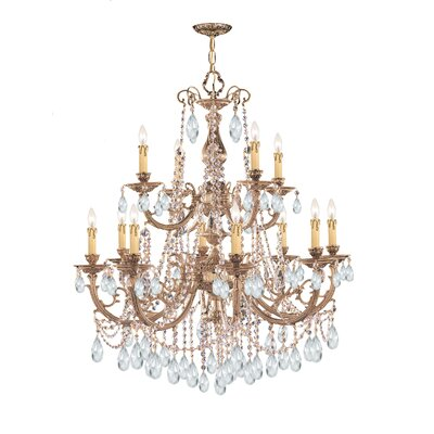 Olde World 12-Light Crystal Chandelier Crystal: Clear Majestic Wood Polished