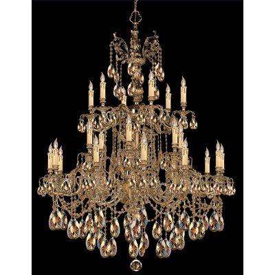 Olde World 25-Light Crystal Chandelier Crystal Type: Golden Teak Strass