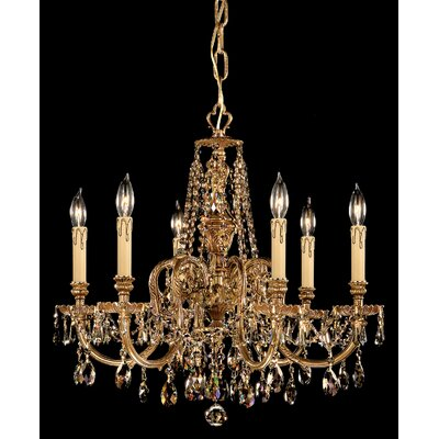 Olde World 6-Light Crystal Chandelier Crystal Type: Golden Teak Strass