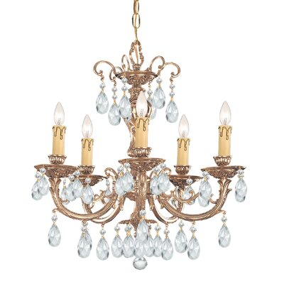 Olde World 5-Light Crystal Chandelier Crystal: Majestic Wood Polished