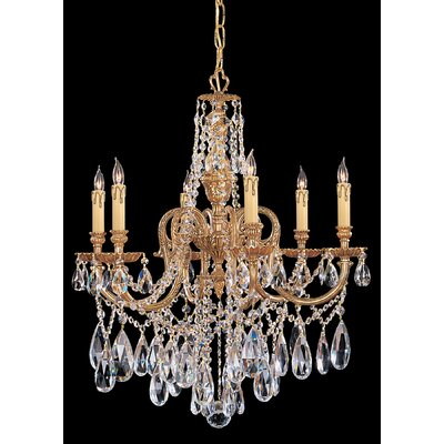 Olde World 6 Light Candle Chandelier Crystal Type: Majestic Wood Polished