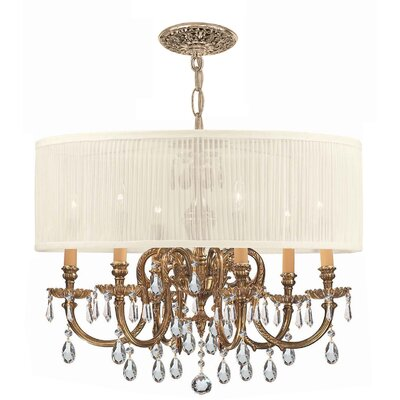 Corrinne 6-Light Olde Brass Drum Chandelier Shade Color: Antique White