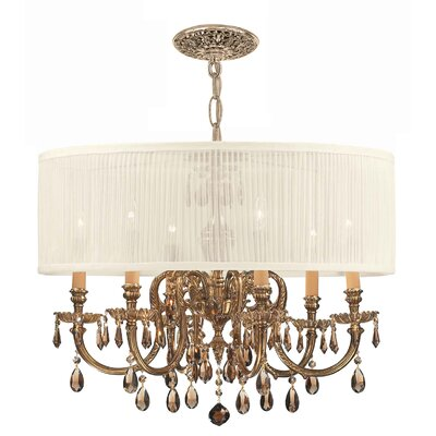 Corrinne 6-Light Metal Drum Chandelier Crystal: Golden Teak