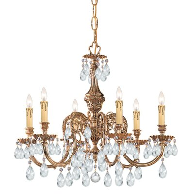Olde World 6-Light  Crystal Chandelier Crystal Type: Majestic Wood Polished