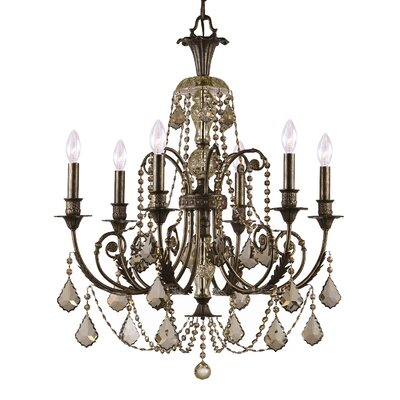 Traditional Classic 6 Light Crystal Candle Chandelier Crystal Type: Golden Teak Majestic Wood Polished