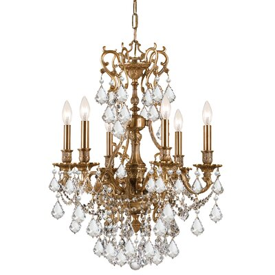 Yorkshire 6-Light Crystal Chandelier Crystal: Majestic Wood Polish