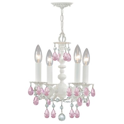 Theroux 4-Light Candle-Style Chandelier Crystal Color: Rose