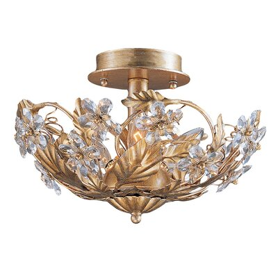 Abbie 3-Light Semi Flush Mount Finish: Gold Leaf