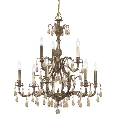 Dawson 9-Light Crystal Chandelier Crystal Type: Golden Teak Hand Polished, Finish: Antique Brass