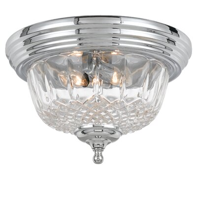Historical Brass Lead Crystal 2-Light Flush Mount Finish: Chrome