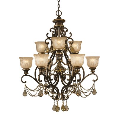 Tusten 9-Light Traditional Metal Shaded Chandelier Crystal Type: Golden Teak Majestic Wood Polished