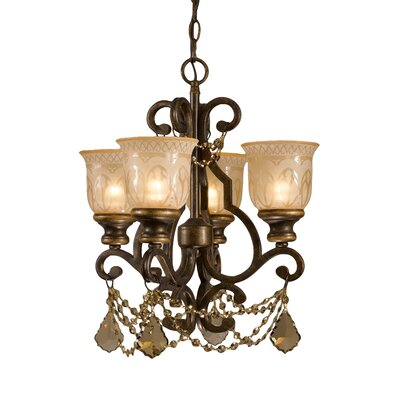 Norwalk 4-Light Semi Flush Mount Crystal Grade: Golden Teak Majestic Wood Polished