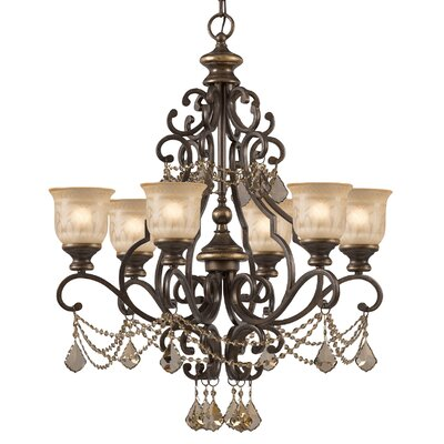 Norwalk 6-Light Shaded Chandelier Crystal: Golden Teak Majestic Wood Polish