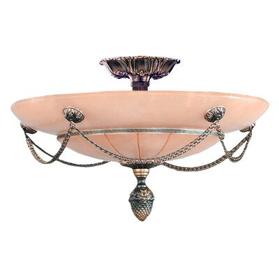 Bravado Alabaster 3-Light Semi Flush Mount Finish: Bronze